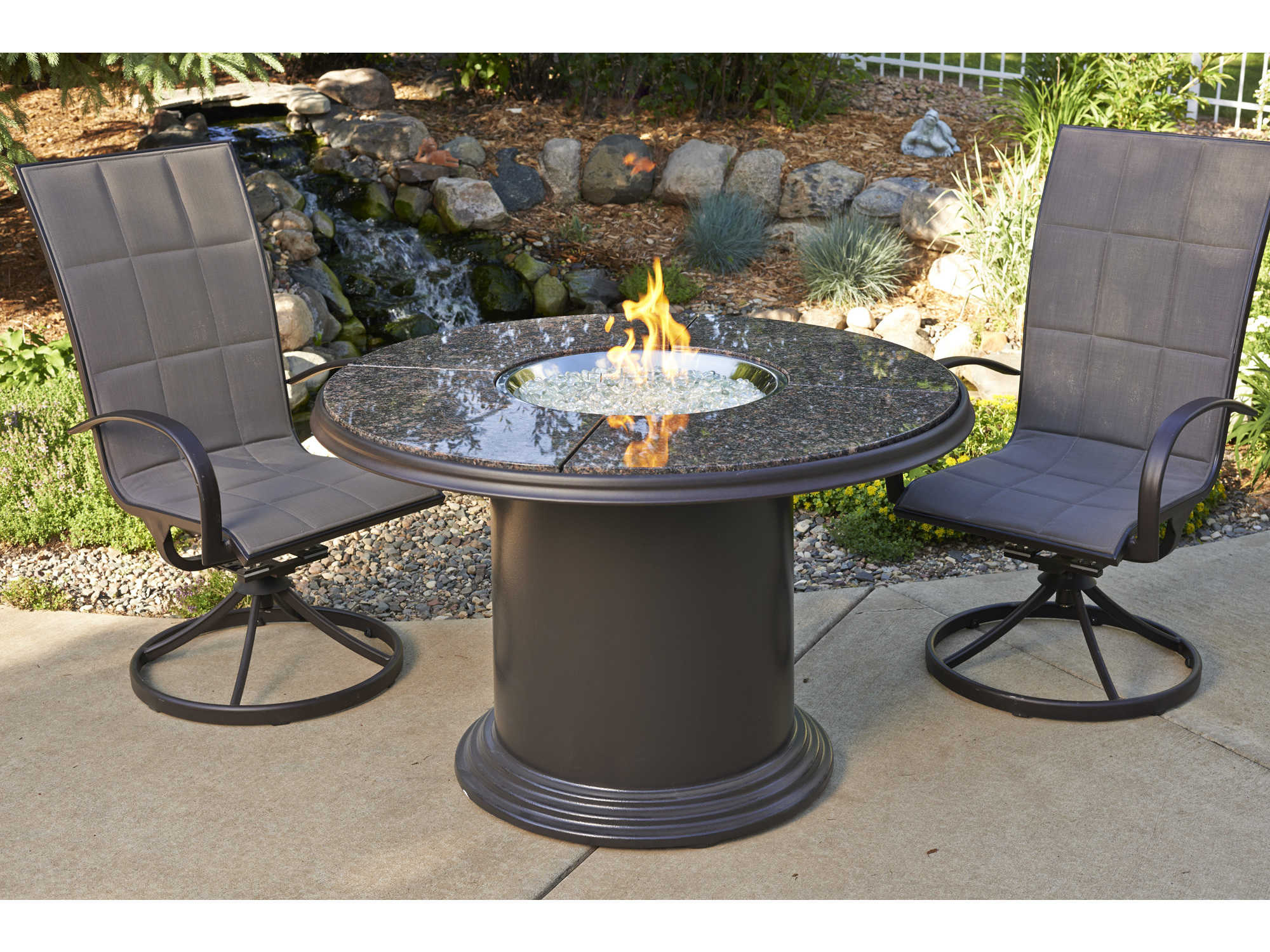 Outdoor GreatRoom Colonial Fiberglass 48 Round Crystal ... on Outdoor Dining Tables With Fire Pit id=51966