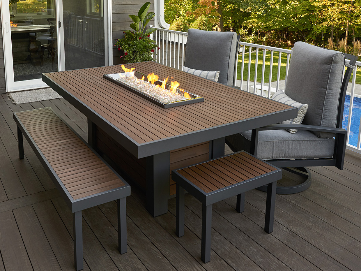 Outdoor Greatroom Kenwood 80.69 x 50.5 Rectangular Linear ... on Outdoor Dining Tables With Fire Pit id=19453