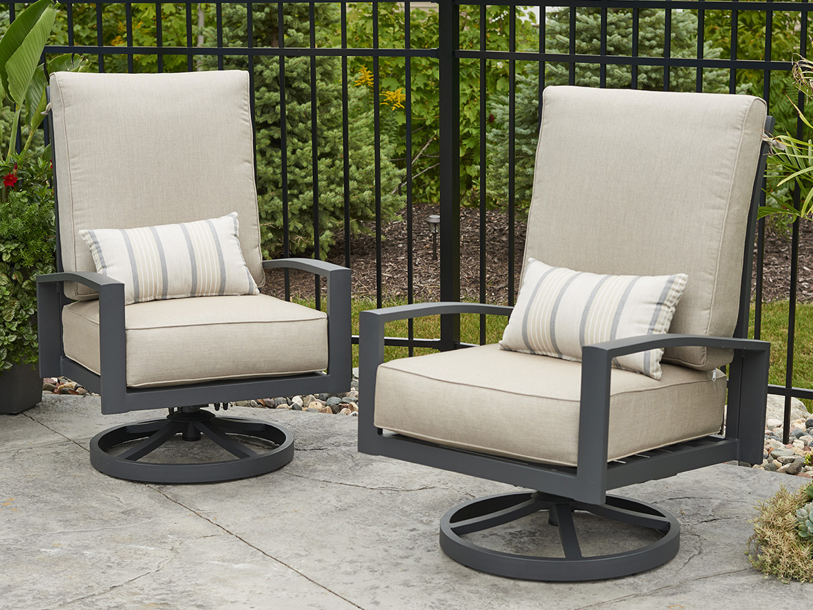 outdoor greatroom lyndale aluminum graphite grey highback swivel rocker lounge chair in cast ash oglsrca