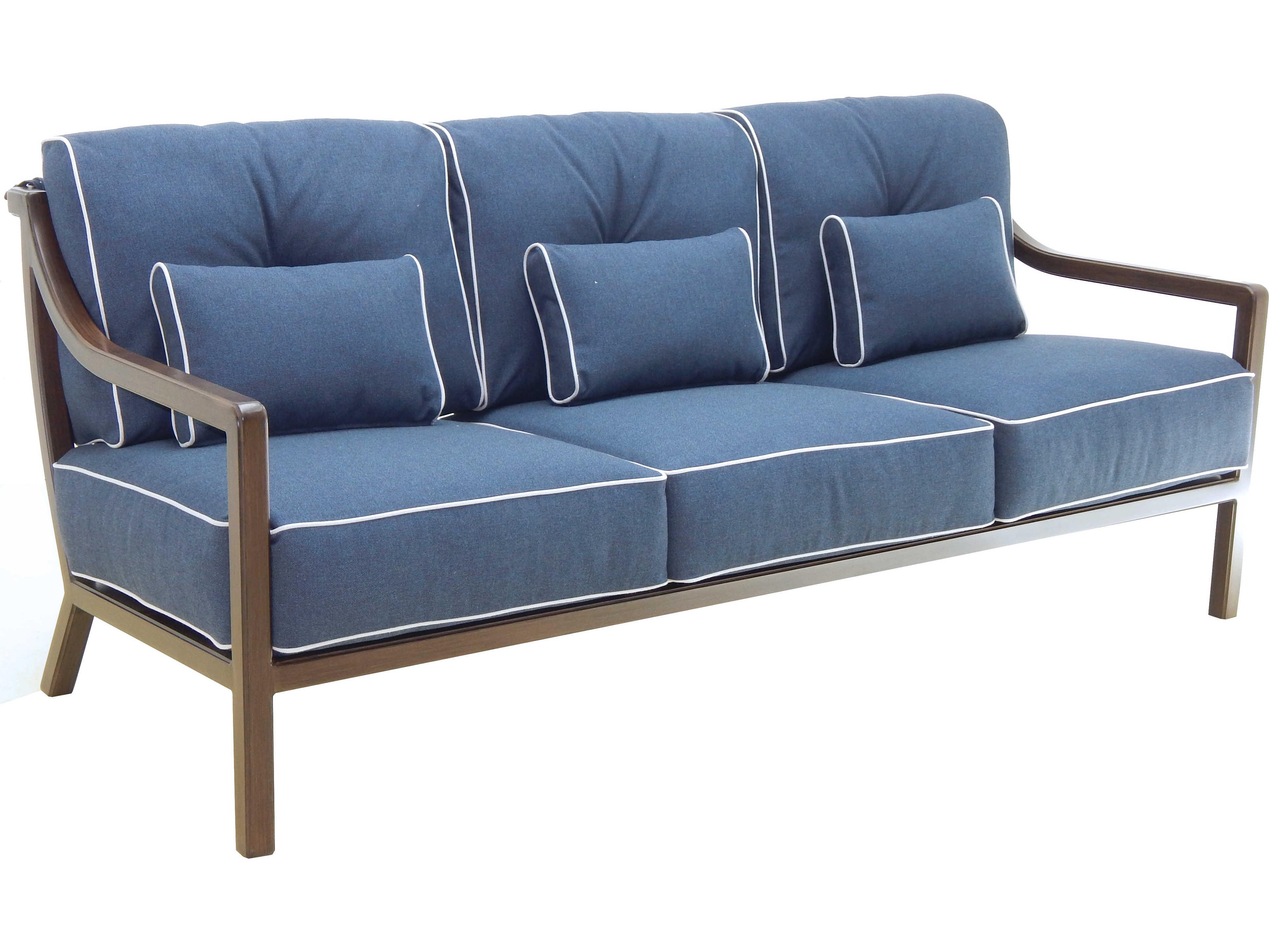 castelle legend deep seating aluminum cushion sofa with three pillows
