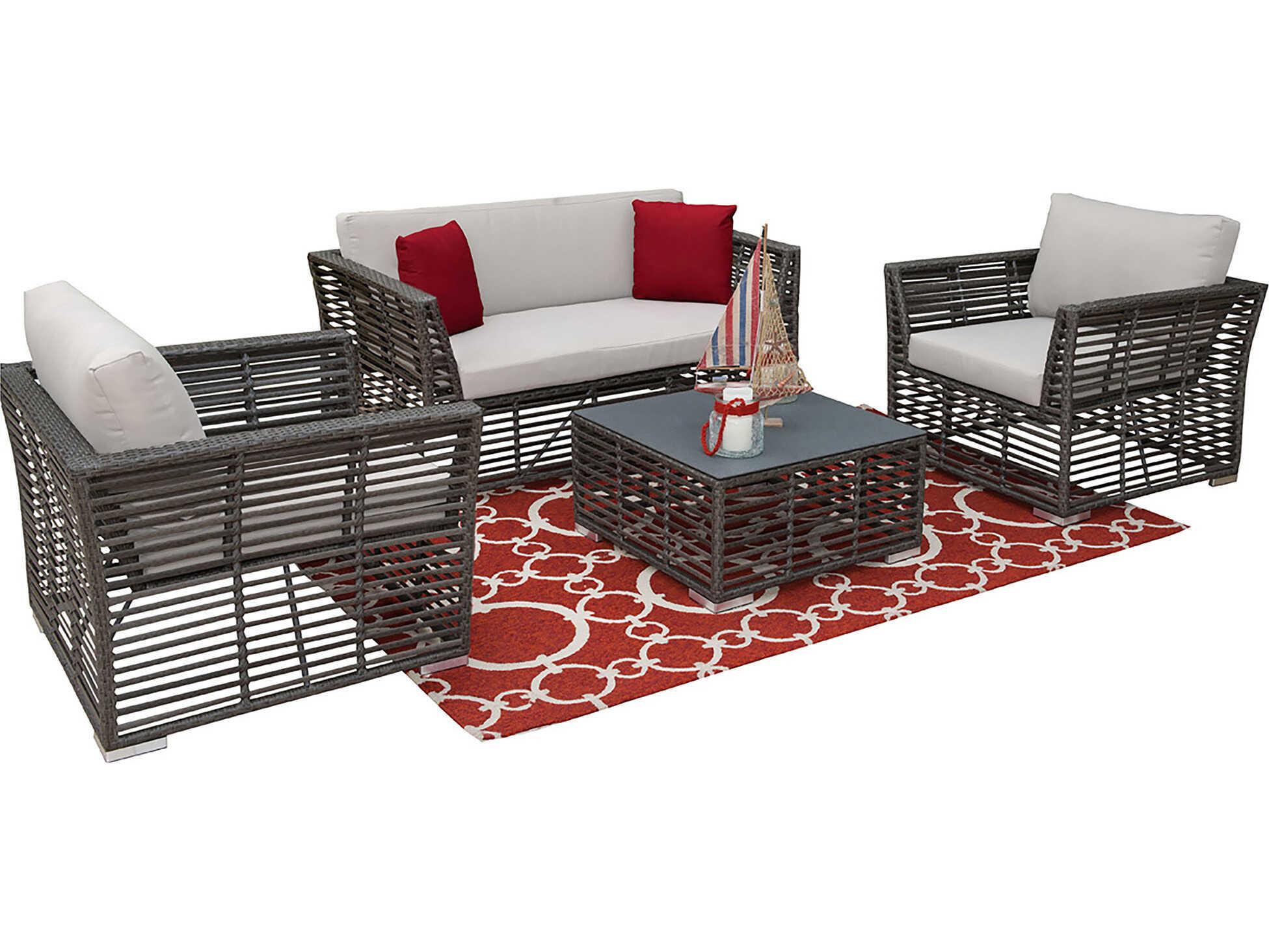 panama jack graphite wicker cushion lounge set