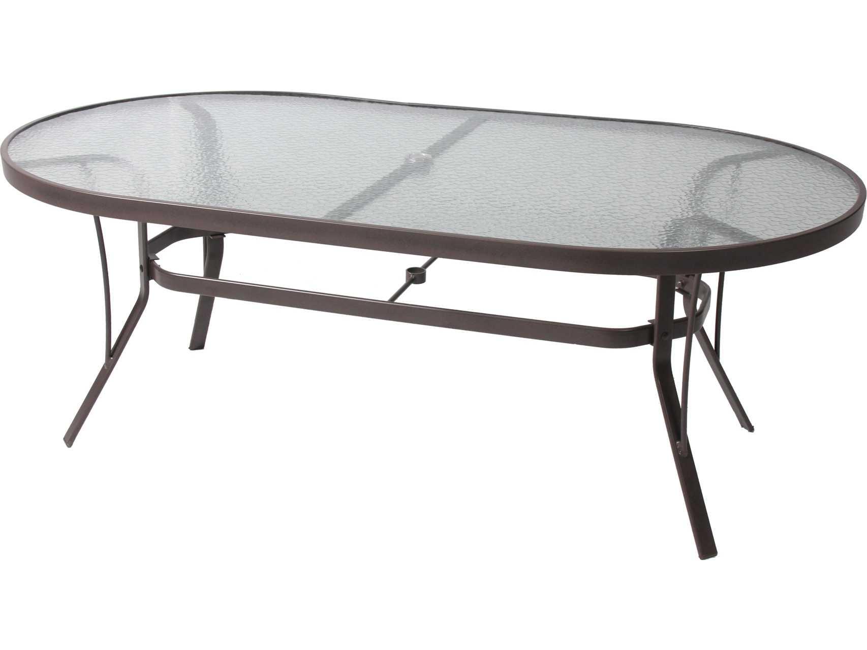 suncoast cast aluminum 76 x 42 oval glass top dining table