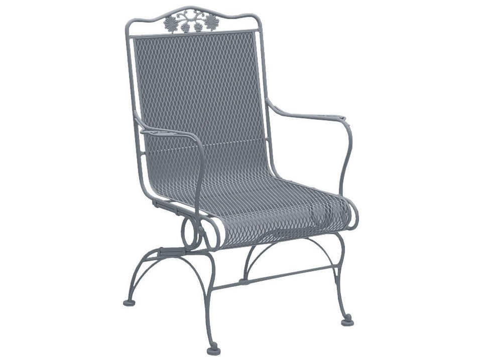 woodard briarwood wrought iron high back coil spring lounge chair