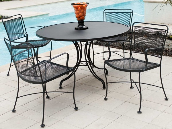 wrought iron patio dining sets Woodard Constantine Wrought Iron Dining Set | CONDS