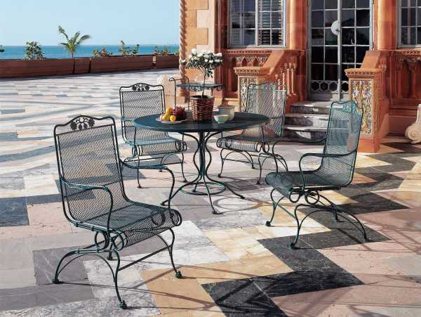 wrought iron patio dining sets Woodard Briarwood Wrought Iron Dining Set | GBLDS