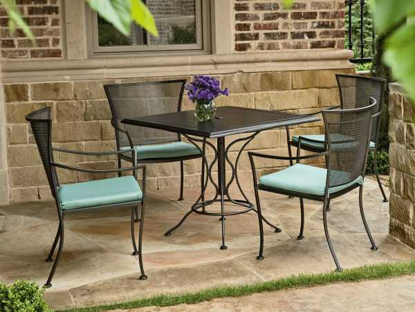 wrought iron patio dining sets Woodard Amelie Wrought Iron Dining Set | GVBDS