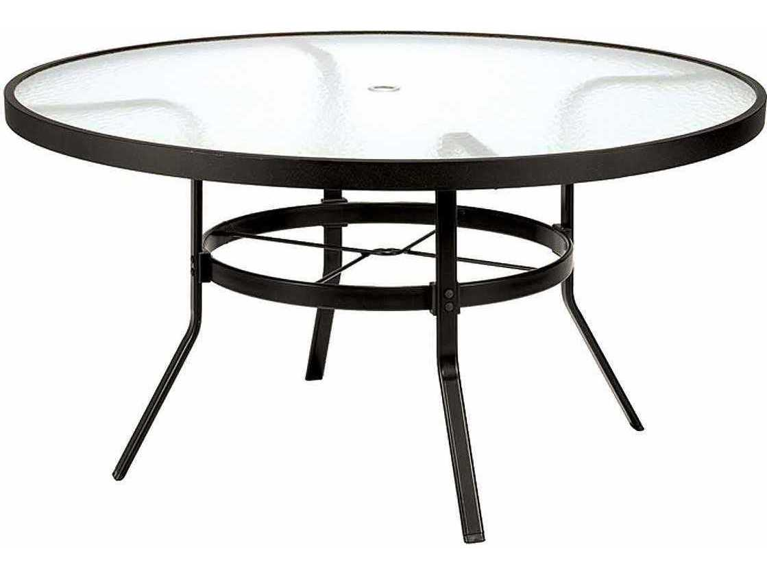 winston obscure glass aluminum 48 round dining table with umbrella hole