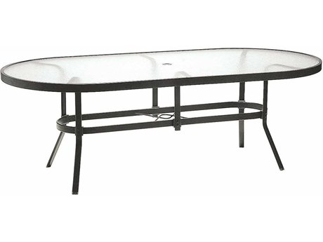 winston obscure glass aluminum 84 x 42 oval dining table with umbrella hole