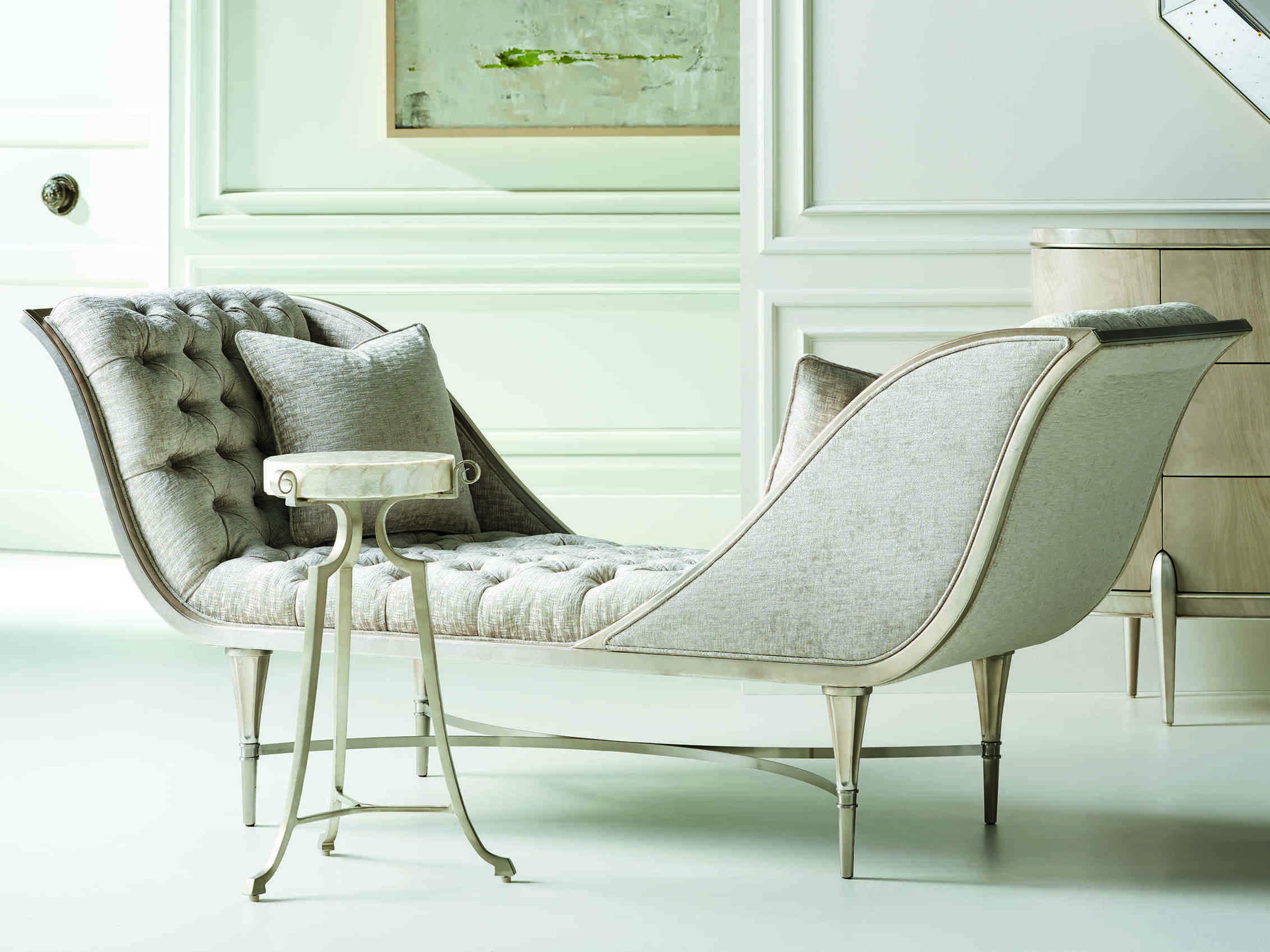 Caracole Classic Grey Silver Leaf Tufted Chaise Lounge