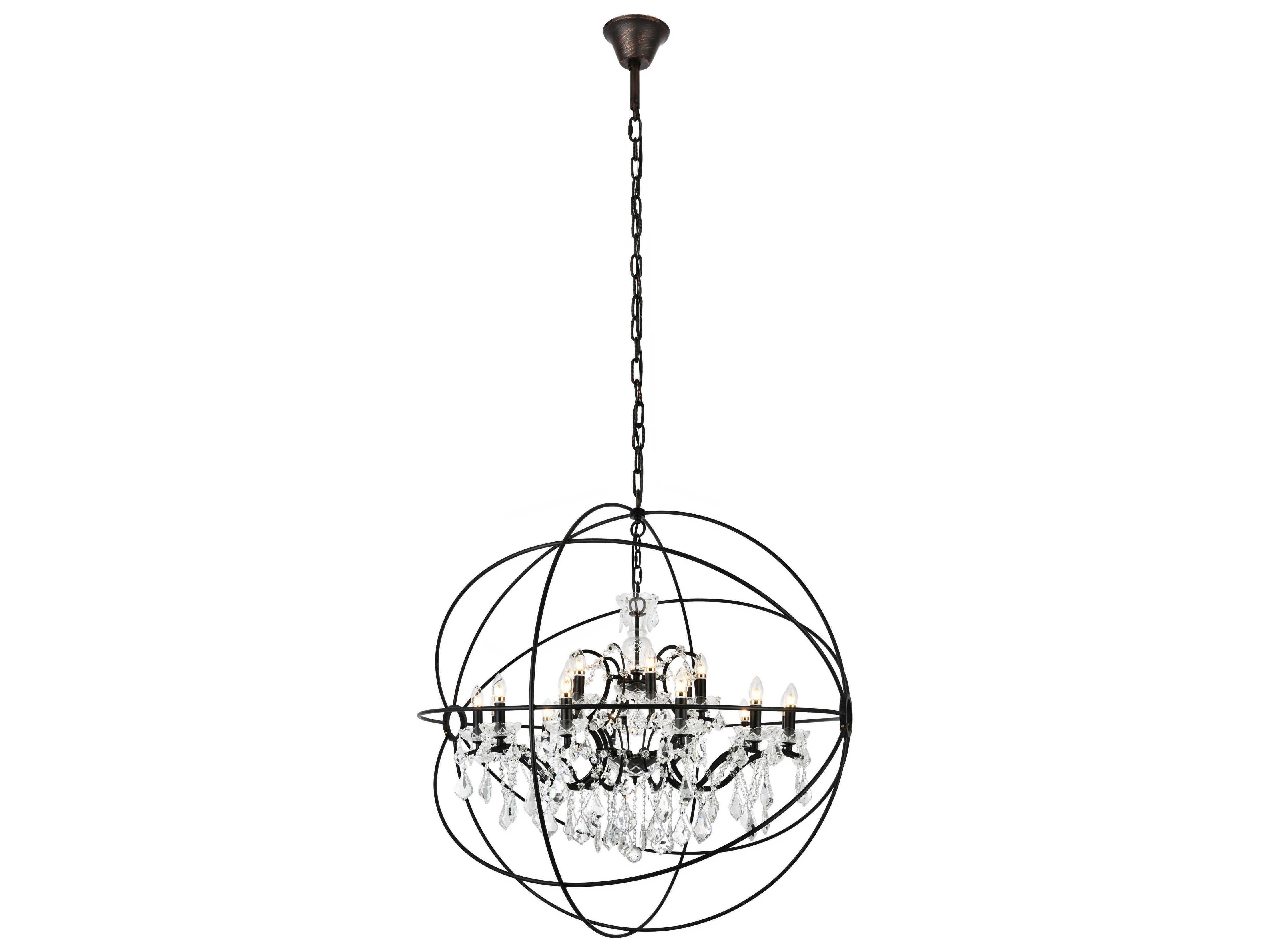 Elegant Lighting Geneva Dark Bronze Amp Clear Crystal 18