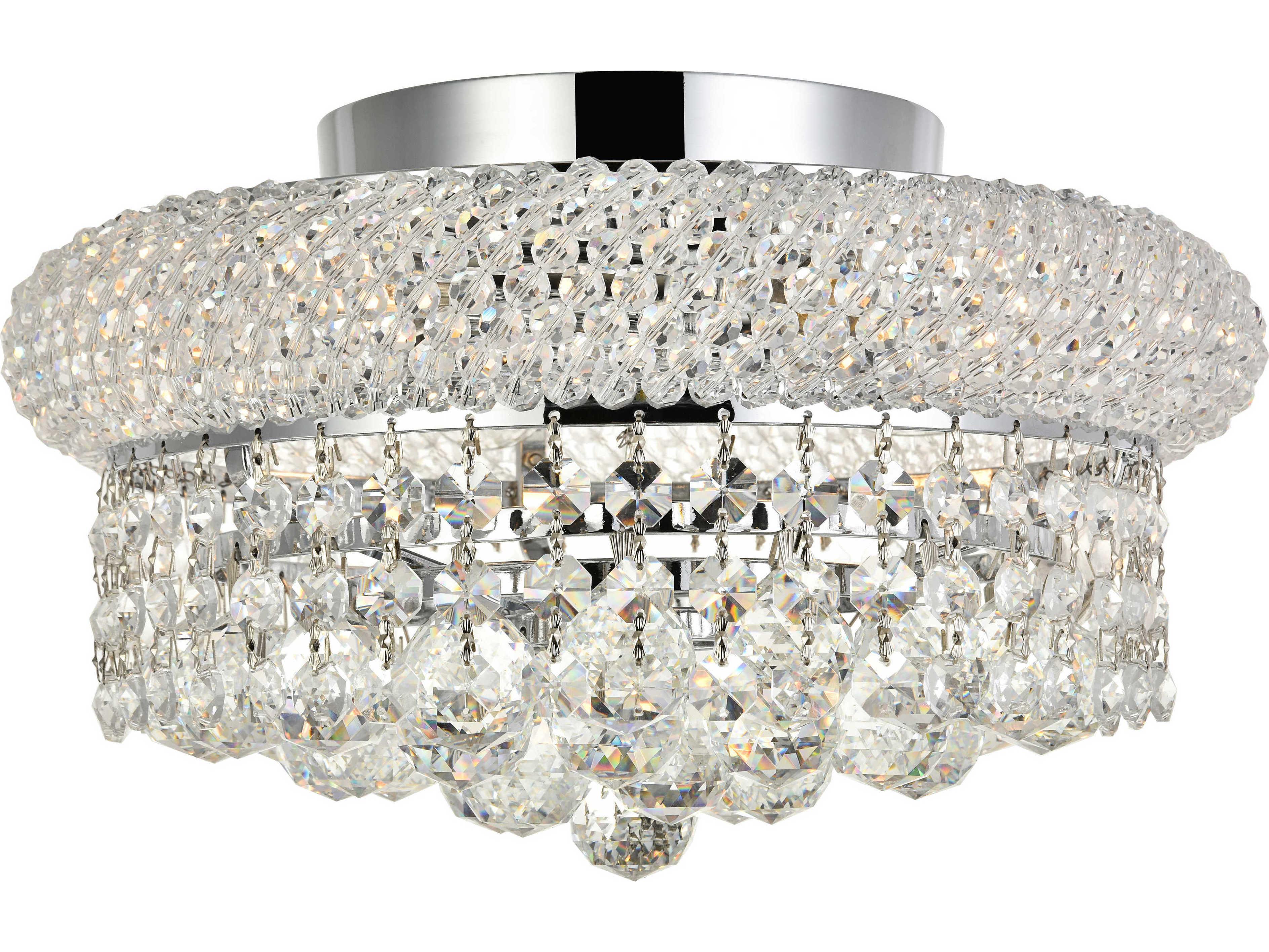 elegant lighting primo royal cut chrome crystal four light 12 wide flush mount light
