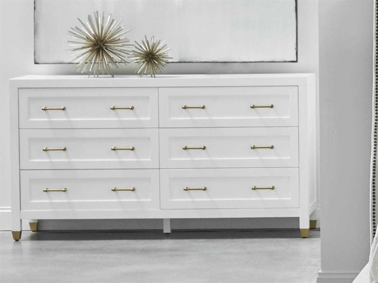 essentials for living traditions matte white six drawer double dresser