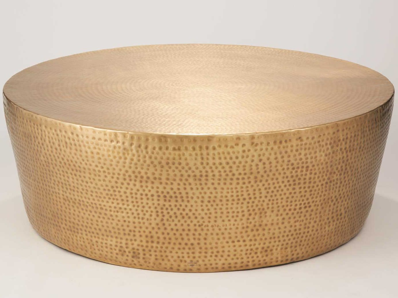 global views antique brass 35 wide round coffee table