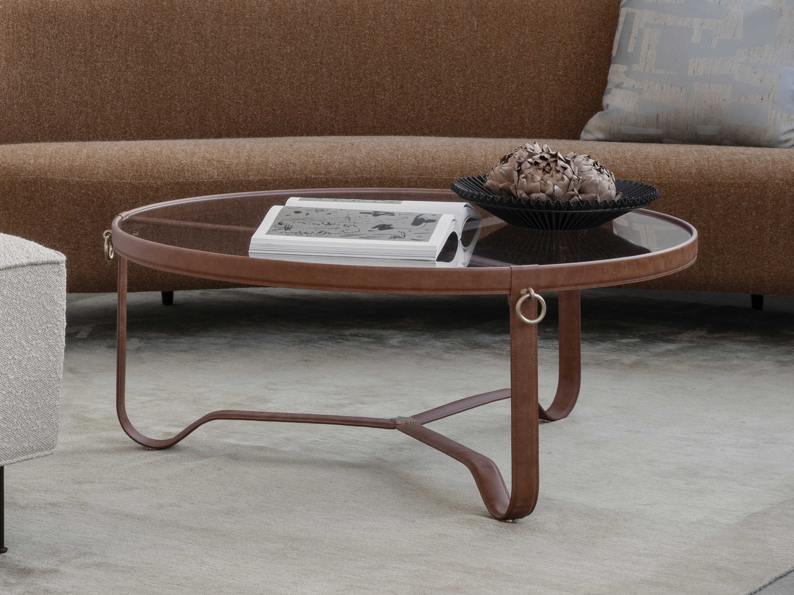 gubi adnet tan leather 40 wide round coffee table