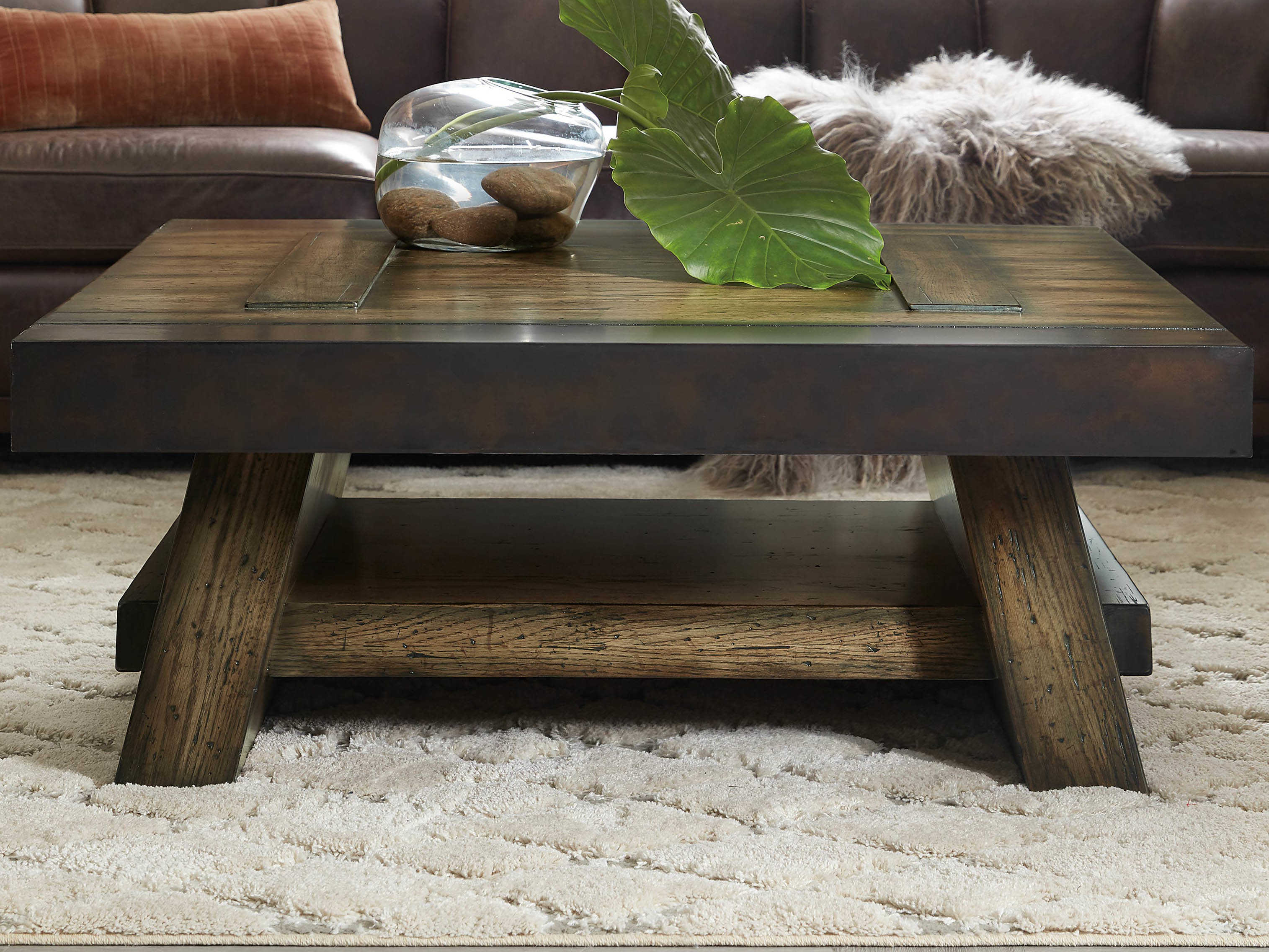 hooker furniture american life crafted dark wood 44 wide square coffee table