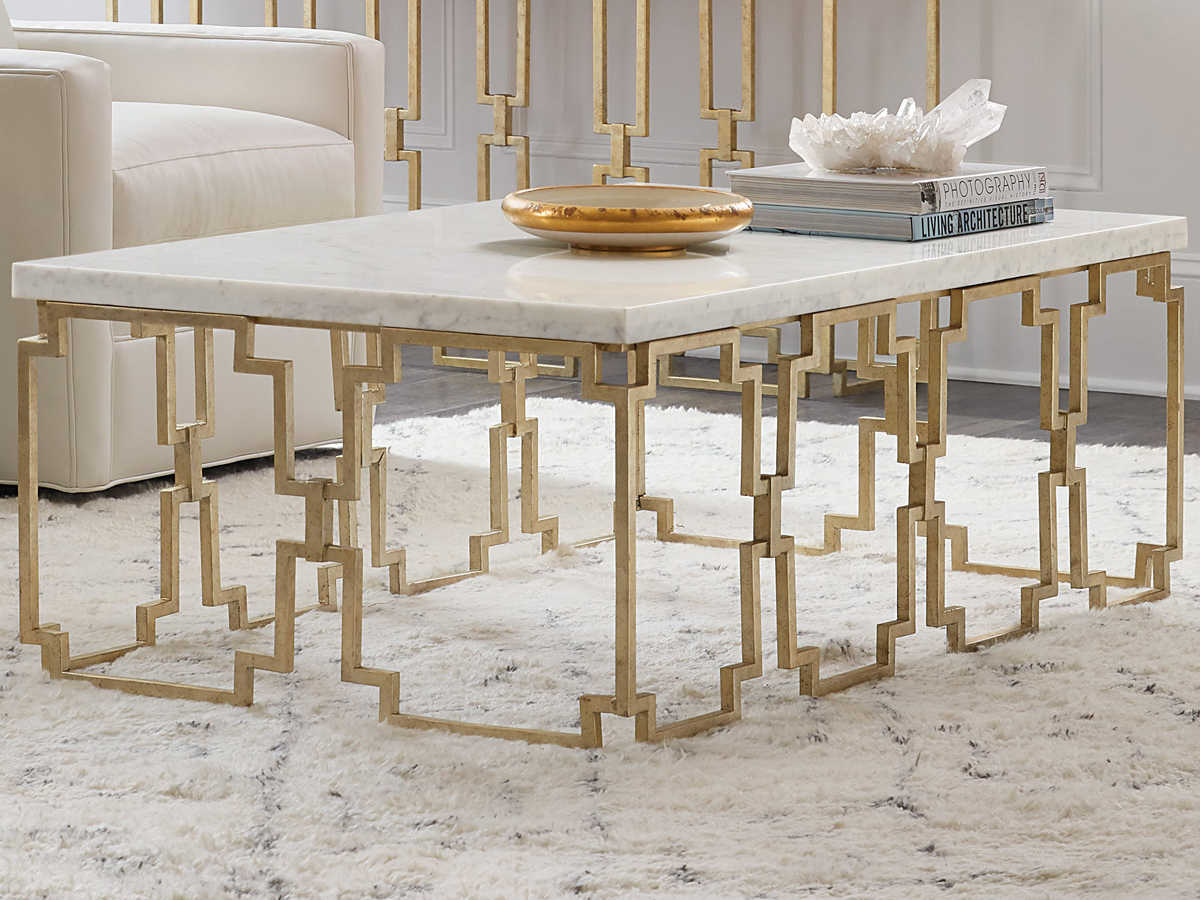 hooker furniture evermore kala white marble gold 52 wide rectangular coffee table