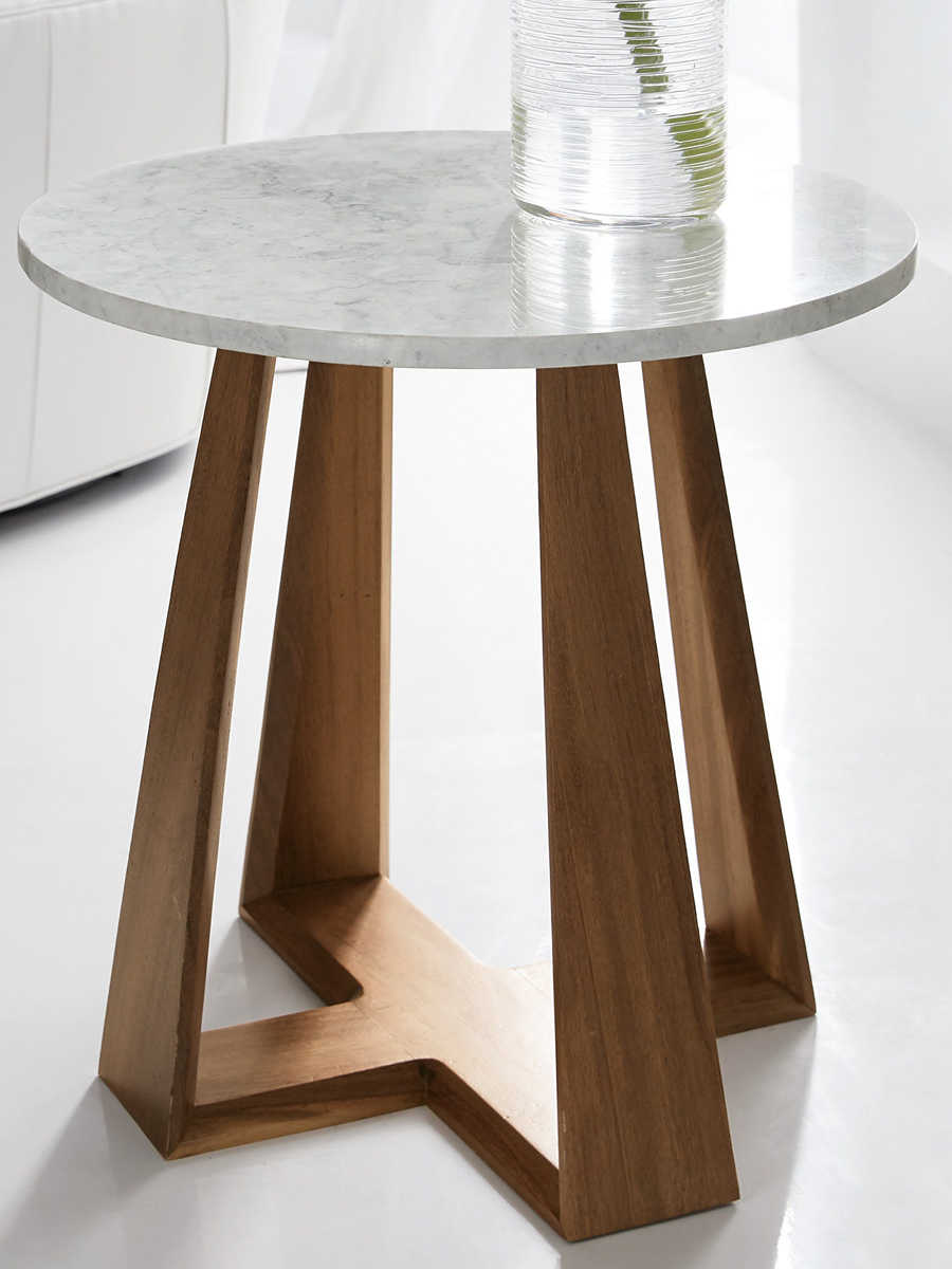 hooker furniture melange white marble medium wood 24 wide round end table