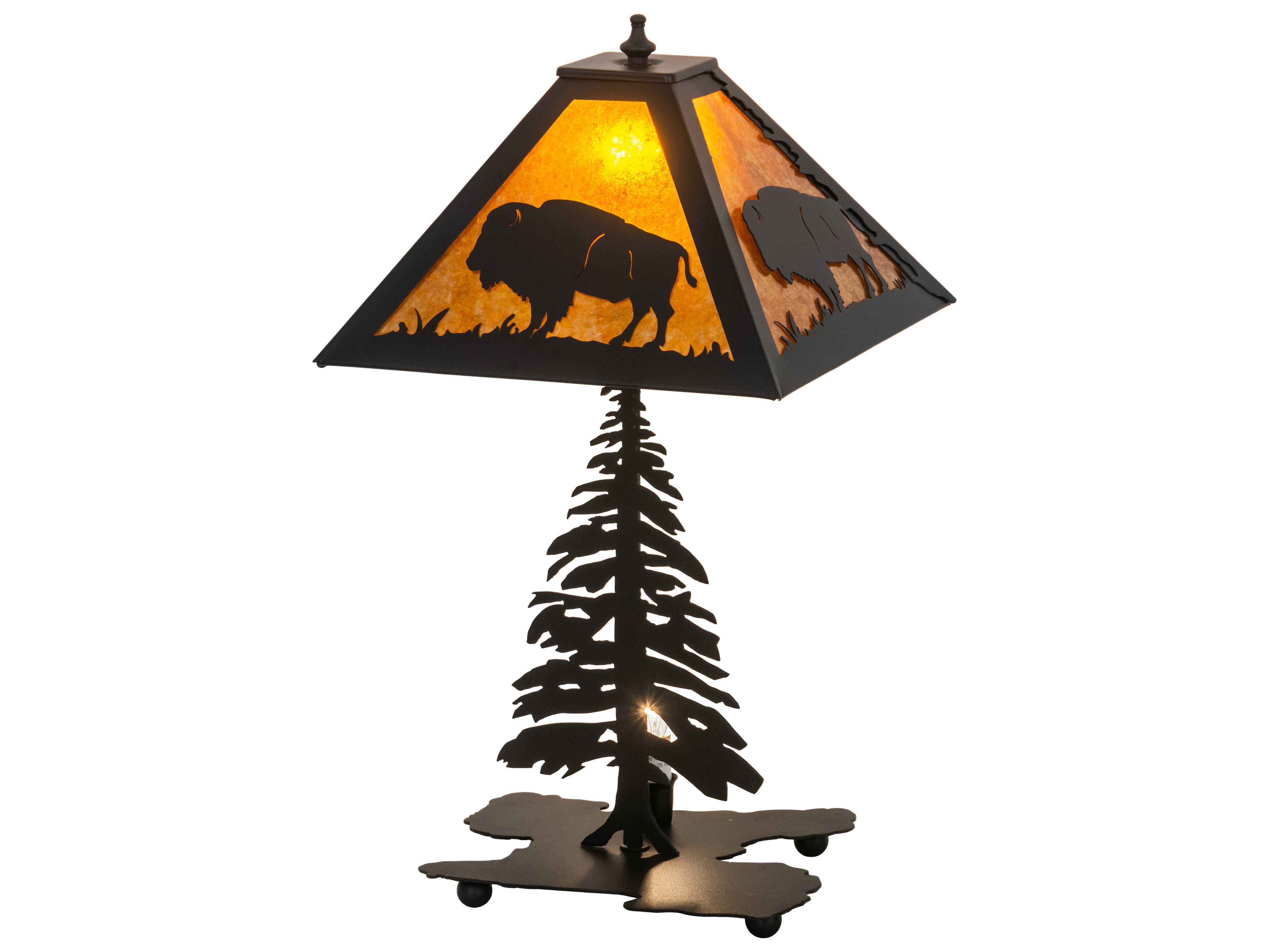 Meyda Buffalo Black Amber Mica 2 Light Rustic Lodge Table Lamp My214532
