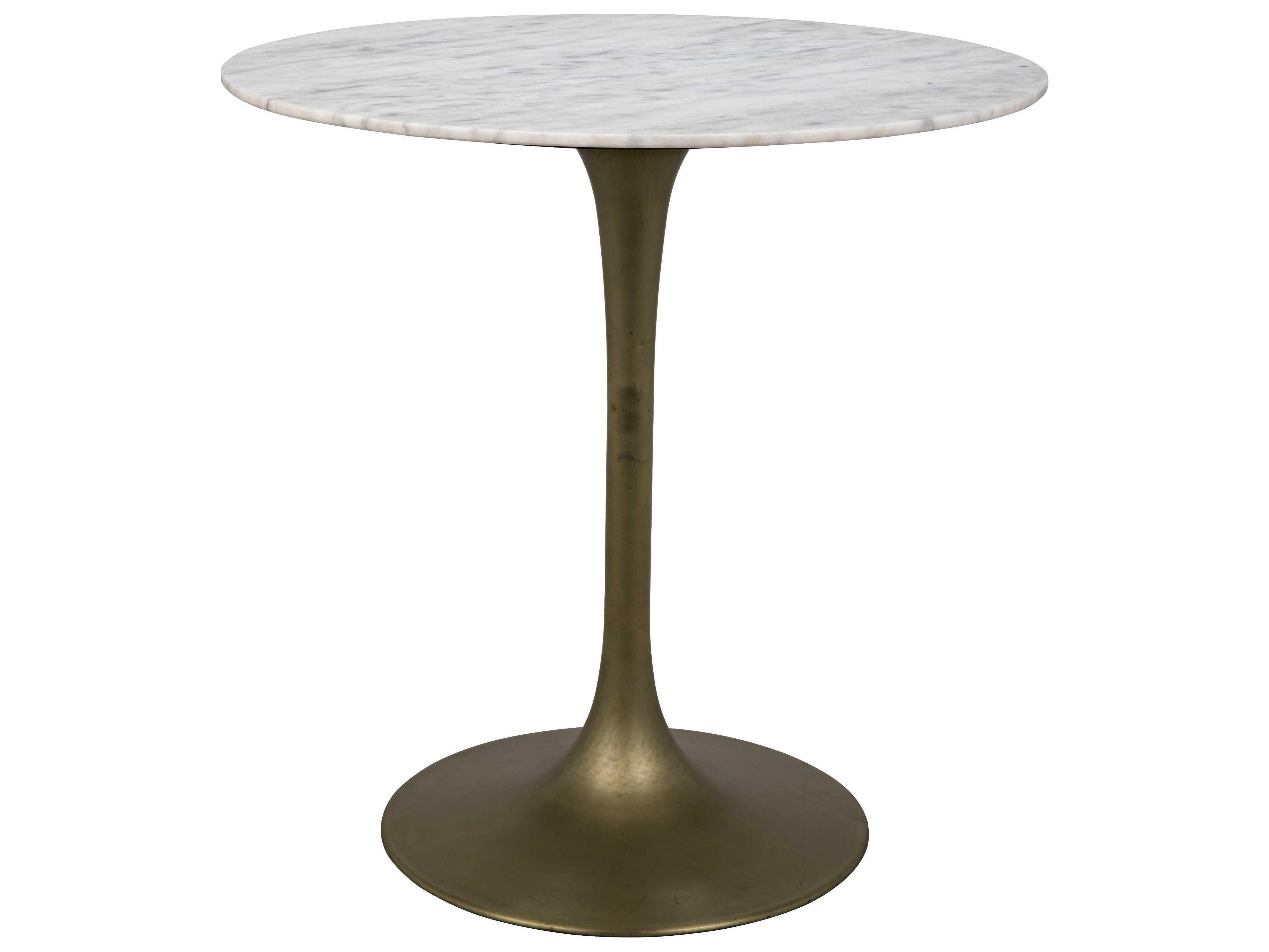 Noir Furniture Antique Brass 40 Wide Round Bar Height Dining Table Noigbar001mb40