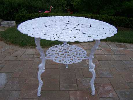 oakland living cast aluminum scroll 32 inch bistro table in white