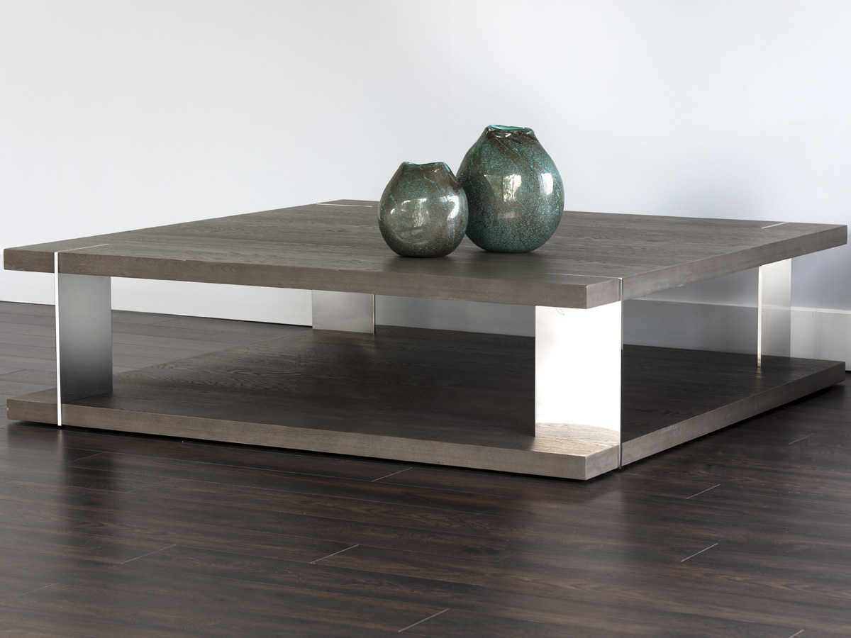 sunpan carmella polished smoked oak stainless steel 59 wide square coffee table