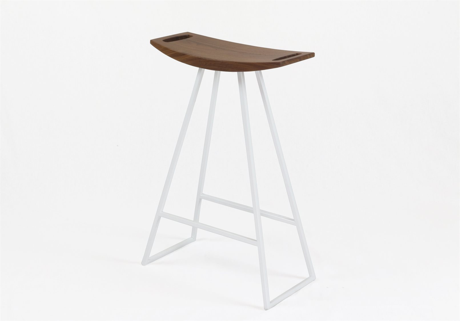 Tronk Design Robert Walnut White Side Counter Height Stool