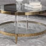Uttermost Kellen Gold Clear 32 Wide Round Coffee Table Ut24895