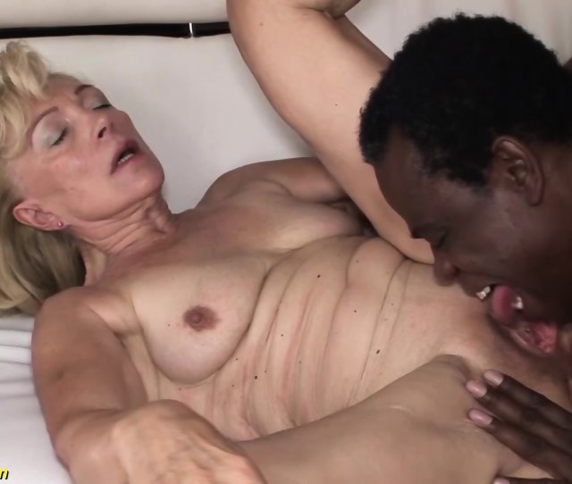 Our Sexy Old Granny Enjoys Her First Rough Big Black Cock Interracial Porn Lesson Scene