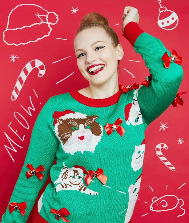 Walmart Cat Christmas Sweater