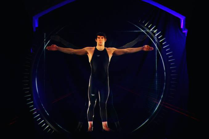 LONDON - FEBRUARY 12:  Swimmer Michael Phelps of the United States of America appears as a hologram ...