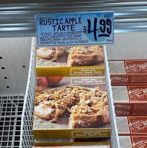 An image of boxes of frozen apple tarts.