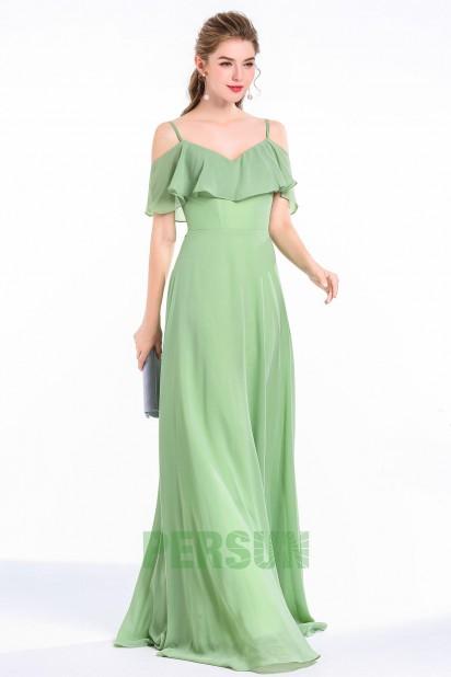 robe demoiselle d'honneur verte longue épaule dénudée en mousseline