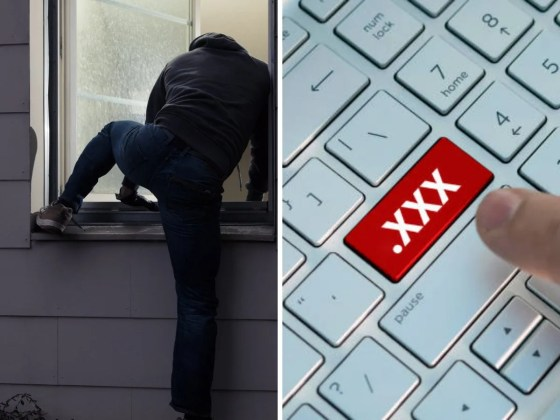 A thief breaks into the home and downloads pornography