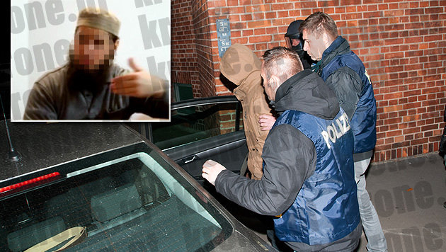 """Der Hauptverdächtige (kl. Bild) wurde in Wien gefasst, auch in Linz und Graz kam es zu Festnahmen. (Bild: Robert Loy, """"Krone"""")"""