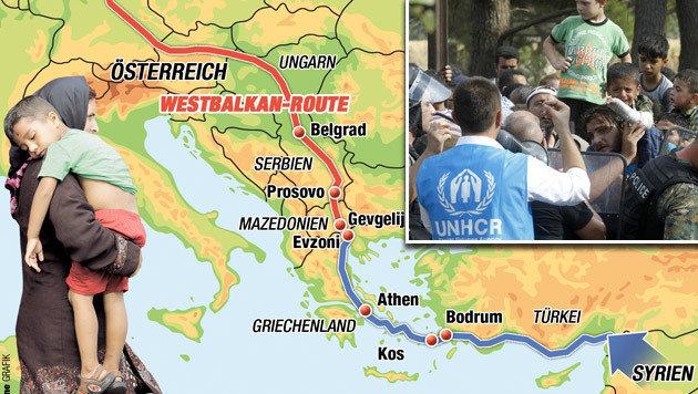 """Die berüchtigte Balkanroute (Bild: """"Krone""""-Grafik, AP)"""
