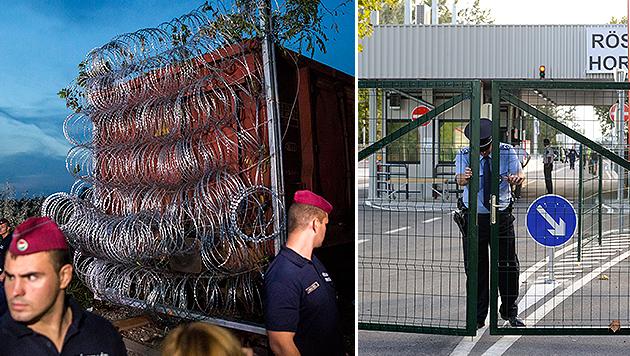 Grenzlücke zu, Haftstrafe für illegalen Übertritt (Bild: APA/EPA/BALAZS MOHAI, APA/EPA/ZOLTAN GERGELY KELEMEN)
