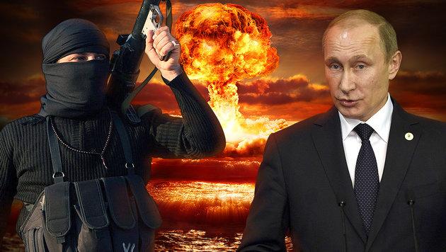 """Putin gegen IS: """"Einsatz von Atomwaffen möglich"""" (Bild: AFP/MARTIN BUREAU, APA/EPA/MOHAMMED JALIL, thinkstockphotos.de)"""