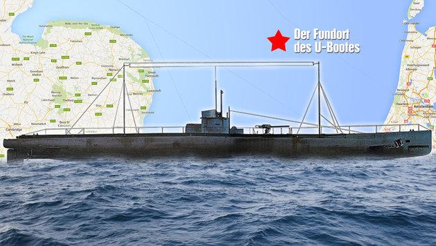 """Der Fundort von """"U-31"""" vor der Küste Großbritanniens (Bild: Military History, google.at/maps, thinkstockphotos.de)"""