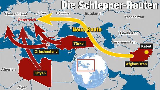 28 Schleppermafia-Bosse planen neuen Sturm auf EU (Bild: Krone-Grafik)