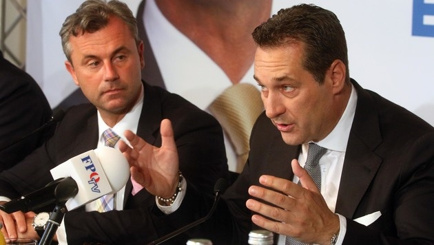 Norbert Hofer und Heinz-Christian Strache (Bild: AP)
