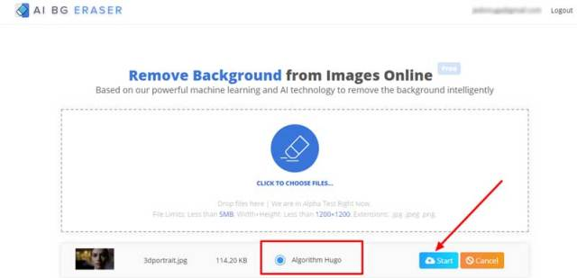 Step2: click start to remove background