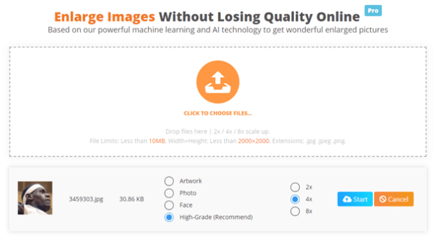 increase image size online