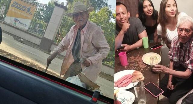 Abuelito que vivía en la calle es salvado y adoptado por familia, su historia se vuelve viral