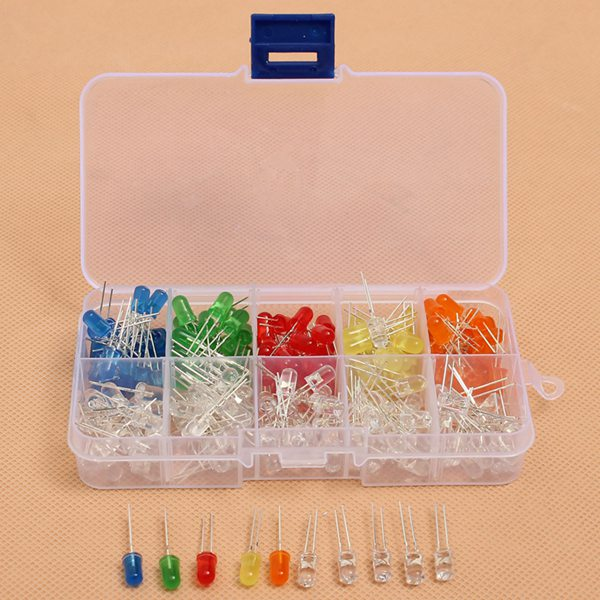 200pcs 5MM LED Diode Kit Mixed Color Red Green Yellow Blue Orange 6