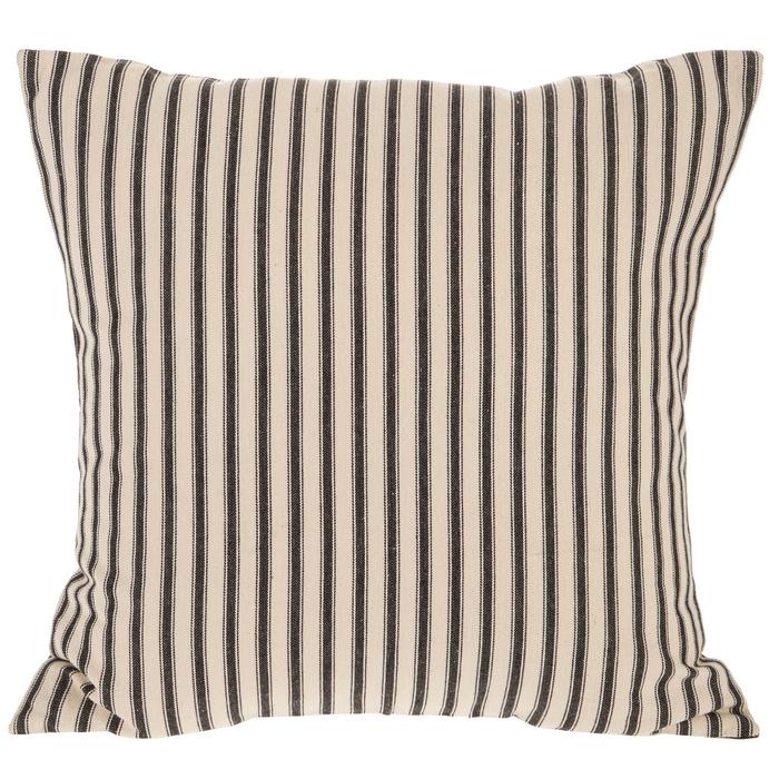 black cream ticking striped pillow cover