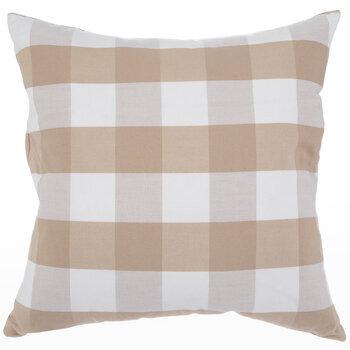 taupe white buffalo check pillow