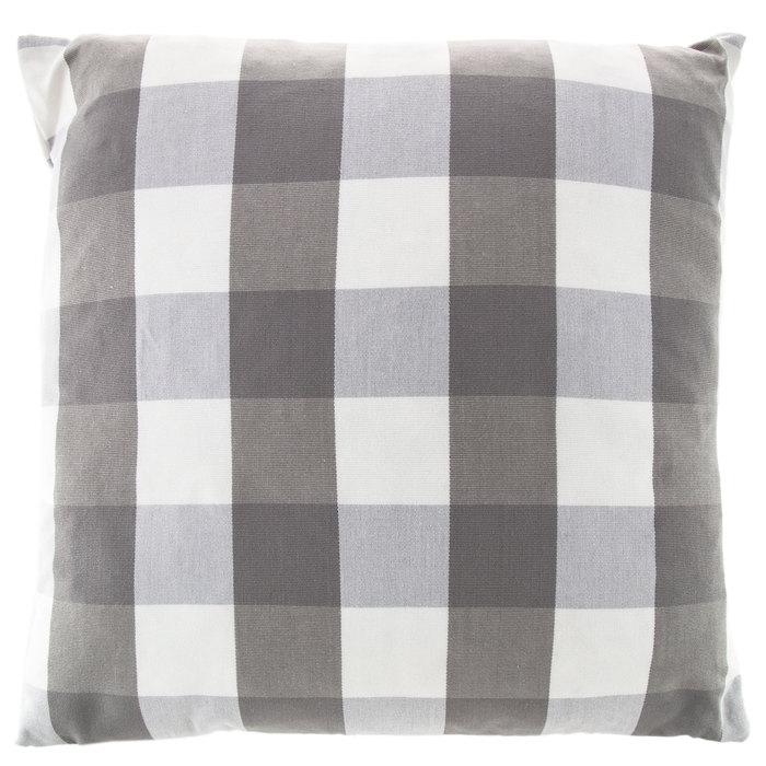 gray white buffalo check pillow