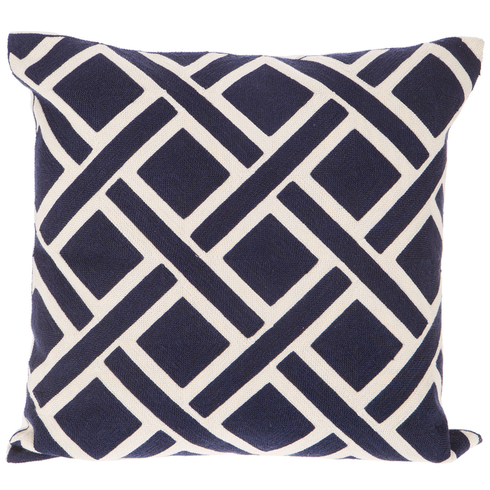 blue white geometric embroidered pillow cover