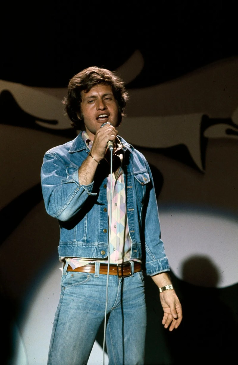 """Joe Dassin on the set of the show dedicated to him """"""""  Number one """"""""  directed by Marion Sarraut.  