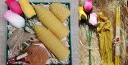 Подаръчен комплект по избор със свещи от пчелен восък, плюс кутия и декорация